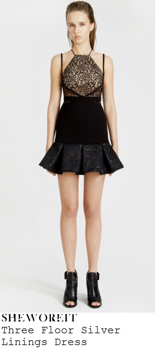 laura-whitmore-black-lace-jersey-and-embellished-rose-pleated-mini-dress-get-me-out-of-here-now