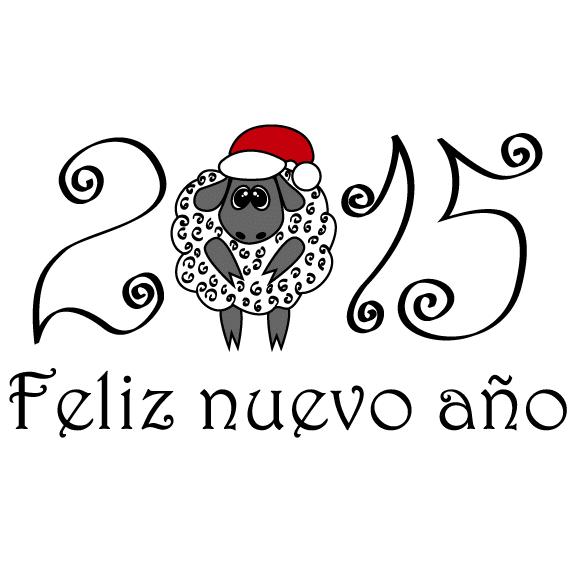 2015 Año Nuevo con oveja divertida - vector