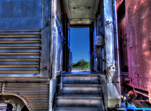 Train car entrance - Austin Steam Train Association - Cedar Park, Texas - HDR