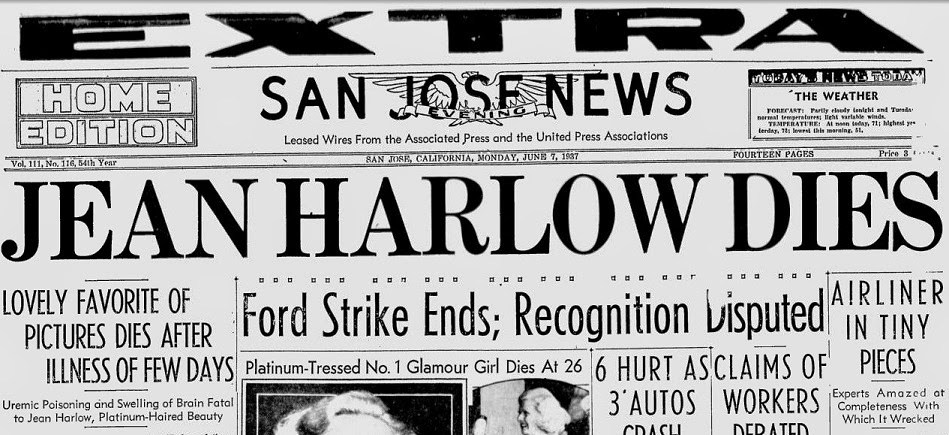 Jean Harlow Dies newspaper headline