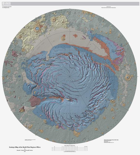 Mapa del polo norte de Marte