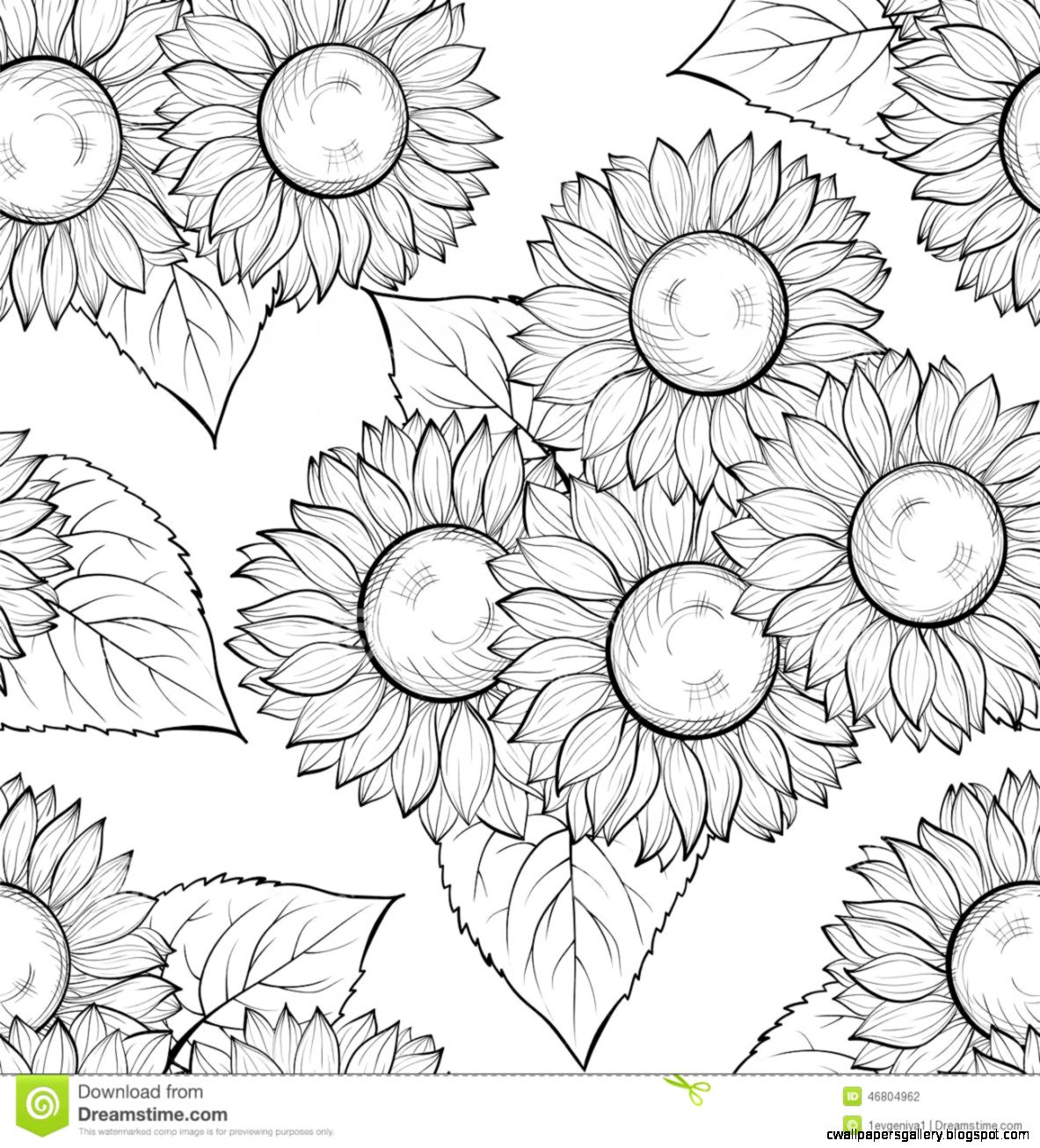 Beautiful Monochrome Black And White Seamless Background With