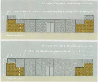 Dimensiones de las dos variantes reglamentarias de cerramientos laterales en pistas de pádel