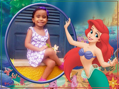 Montagem de fotos infantil pequena sereia