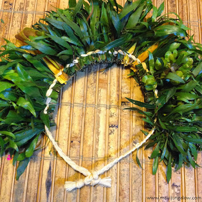 Braided style haku lei using a'ali'i and hala pepe native plant materials for May Day