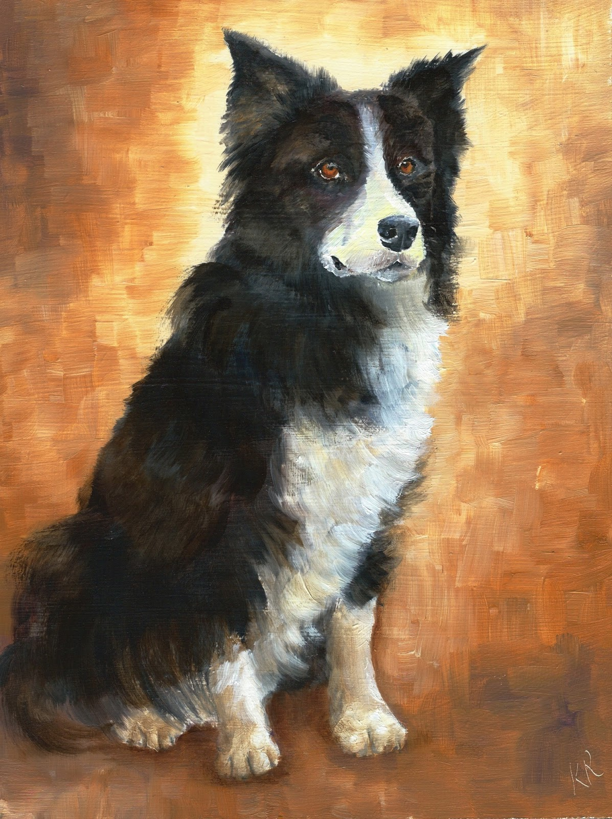 oil painting of a border collie, a pet portrait by karen