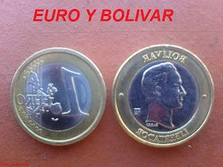 Equivalencia entre el euro y el bolívar