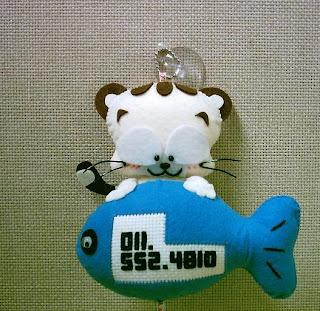 chaveiro de gatinho e peixe de feltro, molde