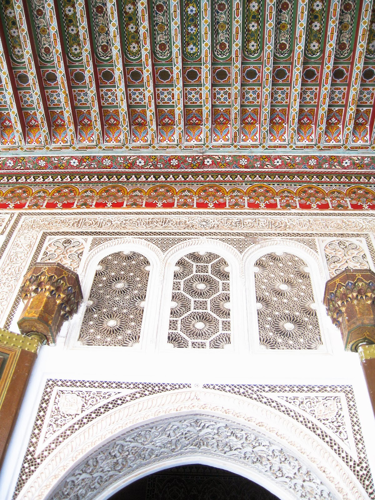 Top Marrakech tourist attractions: intricate details and handwork in decor of Bahia Palace