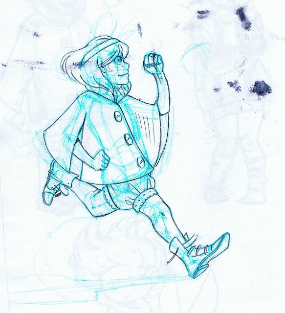 Kara running, wearing cape and boots.
