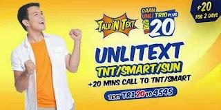 Talk N Text Unli TRIO TRI20 Promo, 2 days Unlitext to Smart/TNT and Sun Cellular