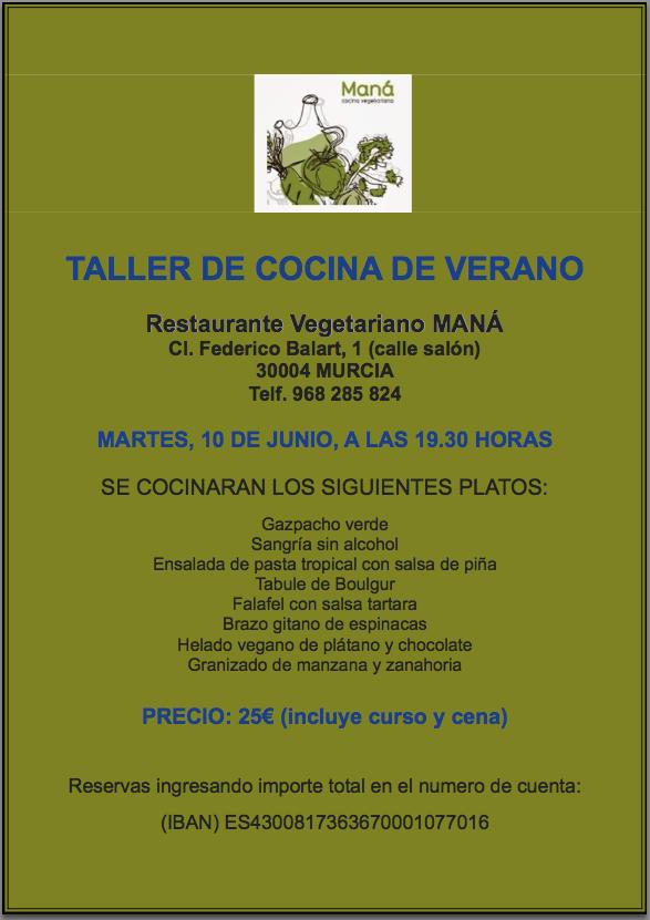 Cartel del taller de cocina de verano