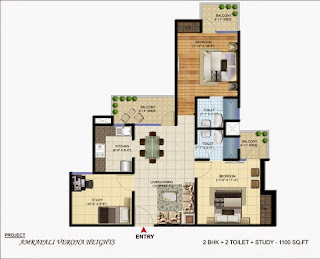 Amrapali Verona Heights :: Floor Plans 2 BHK + 2T + Study
