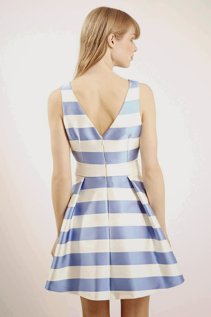 blue striped v back dress,