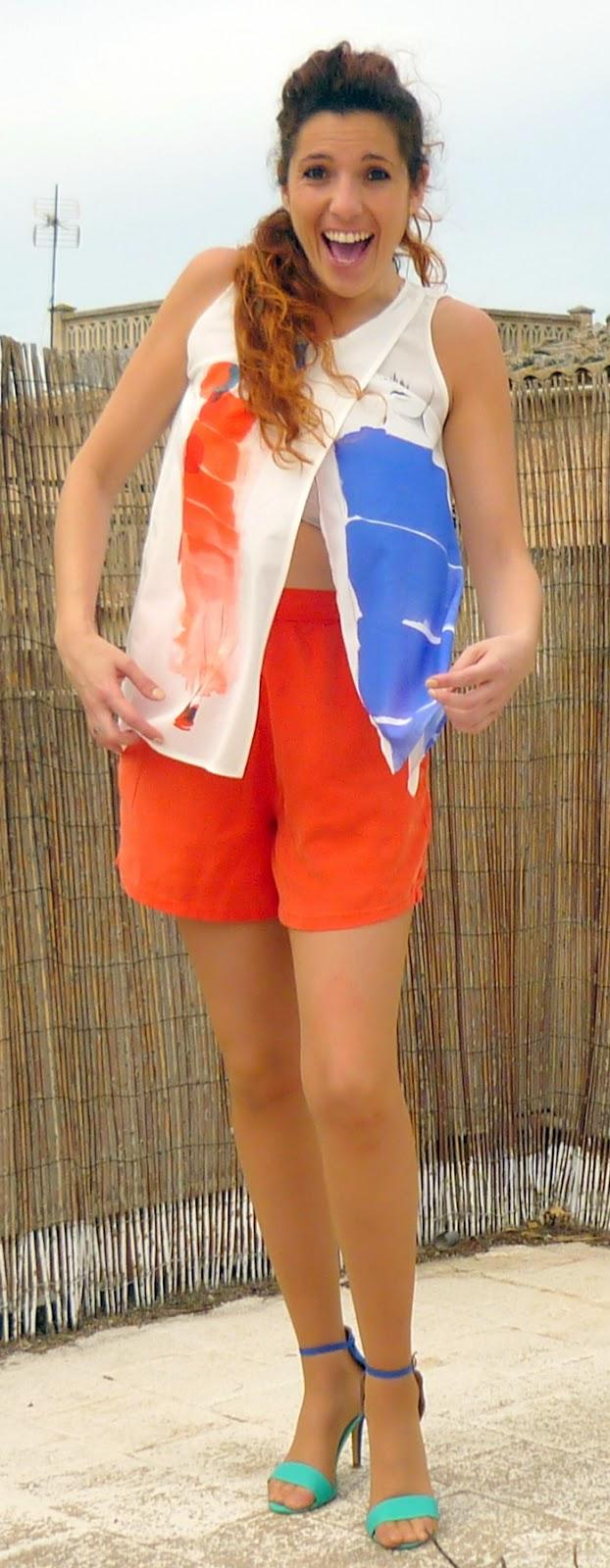 bermudas color naranja