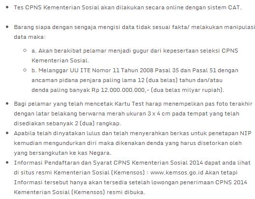 Lowongan Kerja 2014 CPNS Kemensos