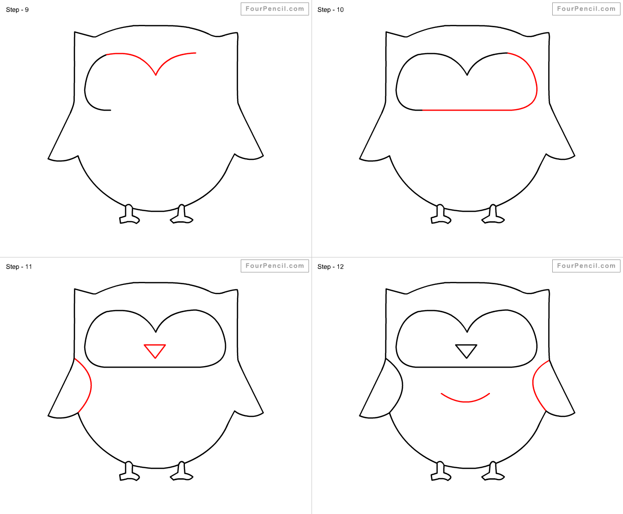 Step By For Kids How To Draw Owl Easy Steps