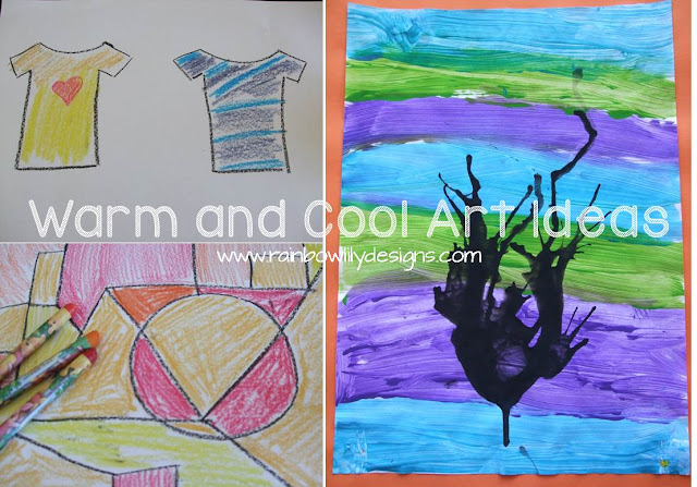 Warm and Cool Art Ideas www.rainbowlilydesigns.com