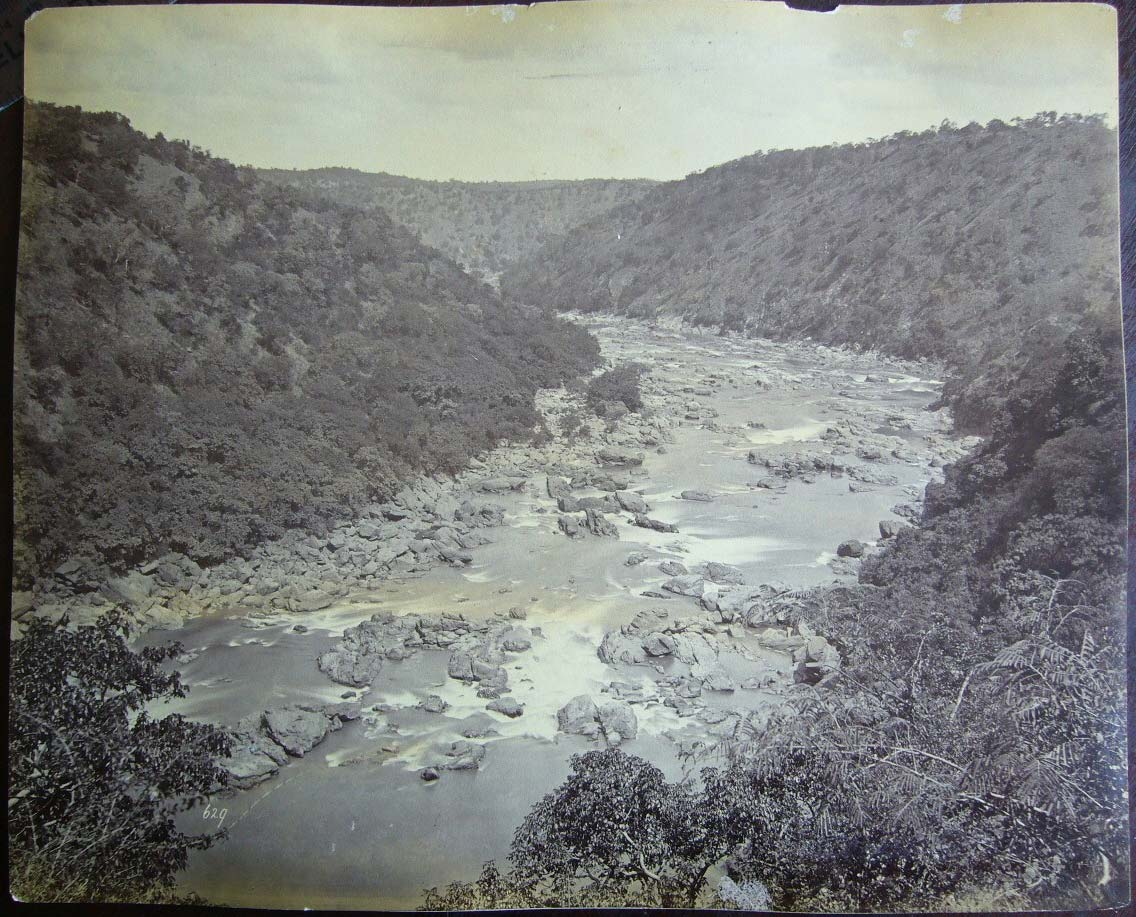 Vintage Photograph Of A River In Hill Area Date And