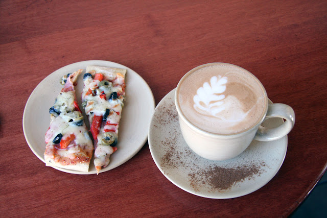 Sicilian Flatbread with a pumpkin spice latte.