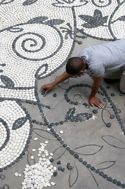 Welcome to kiara trading co river rock mosaic garden paths and patios - River stone walkway ideas seven diy projects ...