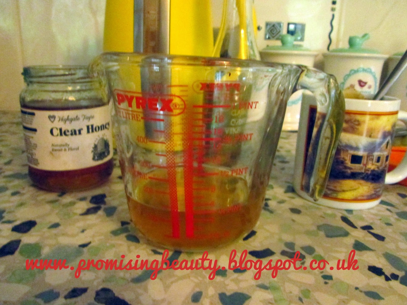 DIY beauty, apple cider vinegar anti acne toner, honey and green tea and yellow kettle
