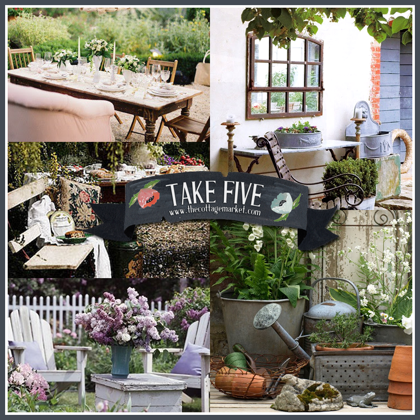 Take five vintage outdoor decor the cottage market - Garden decor accessories ...