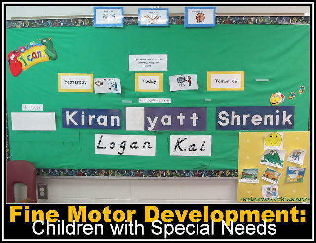 "photo of: Bulletin Board of ""Sign-In"" Fine Motor Work for Children's with Special Needs"