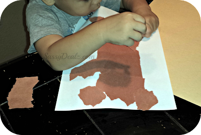 teddy bear kids craft out of brown paper
