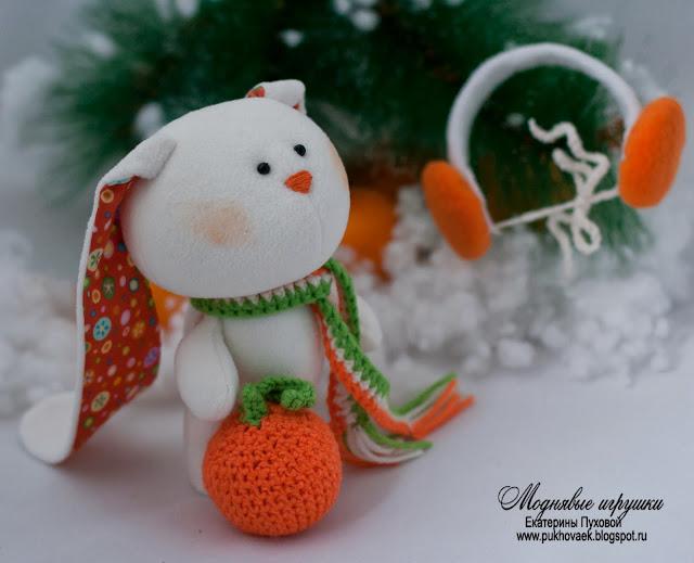 Текстильная игрушка ручной работы. Игрушки животные. Зайчик. Моднявые игрушки. Екатерина Пухова