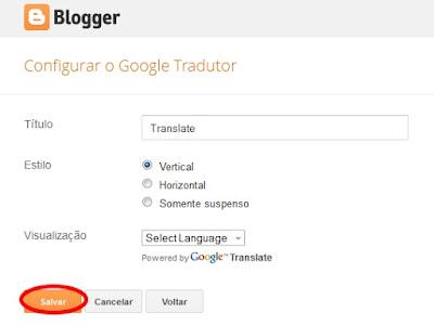 Adicionar gadget do Google Tradutor