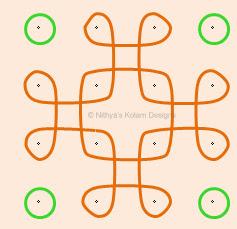 Kolam 41: Apartment Nelli Kolam  Dots 4 x 4