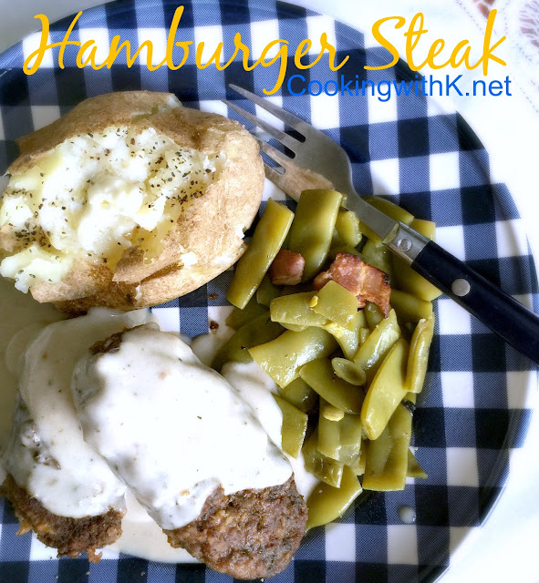 Hamburger Steak, a southern classic for umpteen years.  The hamburger is seasoned well, typically shaped into steaks, coated with flour and fried in a little.  And don't forget to save the drippings to make the creamy gravy.