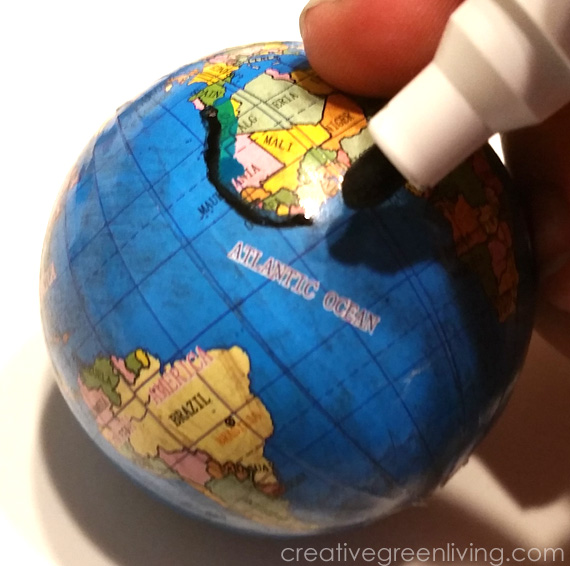 Anthropologie wanderlust globe inspired christmas ornament as you trace you can fill in the ocean too i really love how truly opaque the paint is so i didnt need to go back and do a second coat gumiabroncs Choice Image