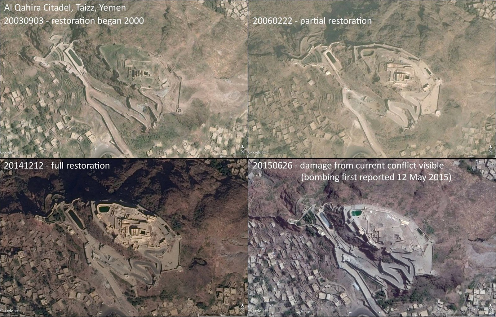 AlQahera Castle Taiz Yemen Before and After Site was Struck by