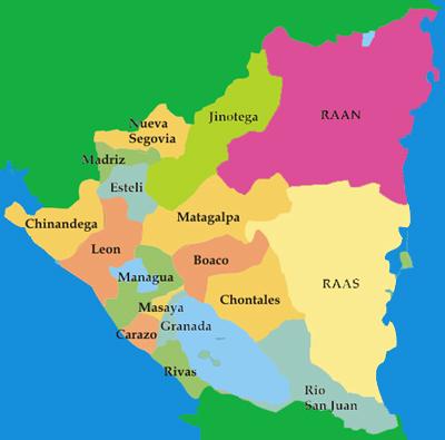 Mapa de nicaragua y sus departamentos