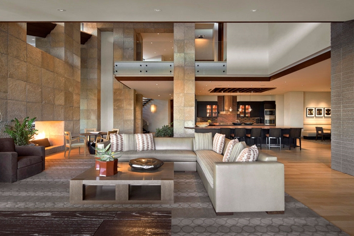 Living room in modern Dream home in the desert, Paradise Valley