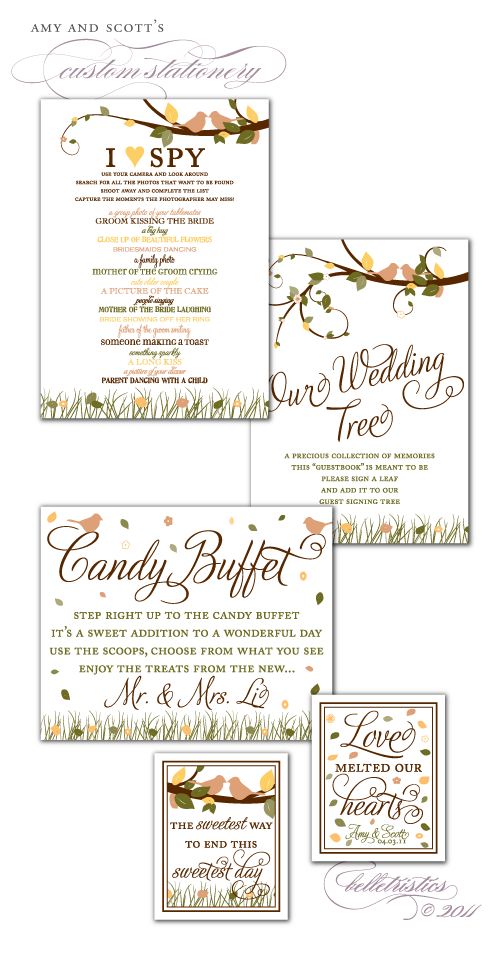 custom i spy wedding reception lovebirds tree spring stationery design