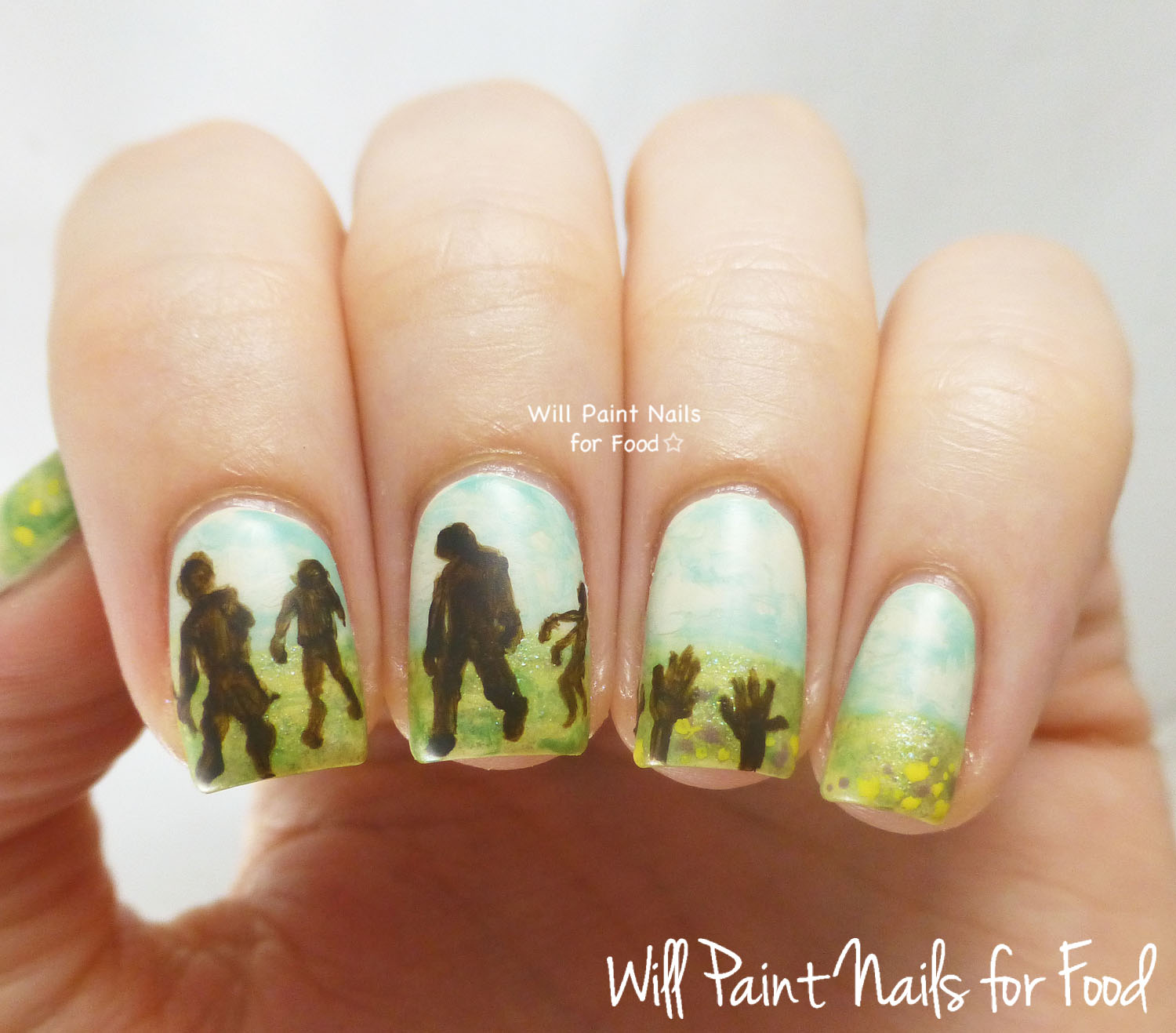 Summer...and zombies nail art