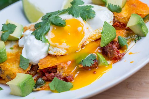 Breakfast Chorizo Quesadilla Topped with a Fried Egg on ...