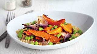 Warm pumpkin and quinoa salad with sesame soy dressing