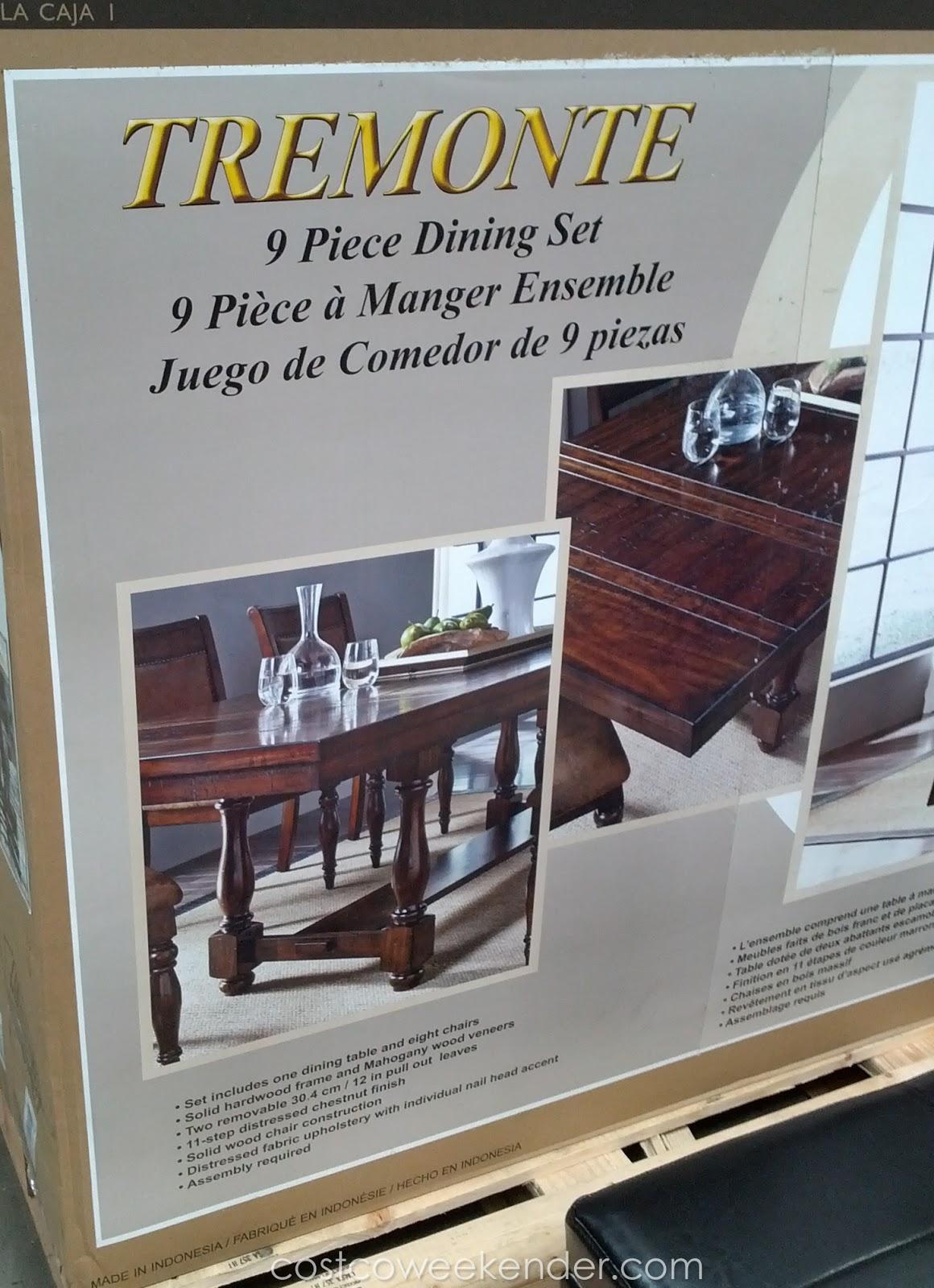 hillsdale tremonte 9 piece dining set costco