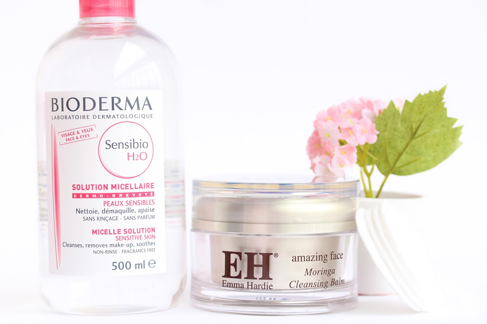 emma hardie cleansing balm and bioderma sensibio