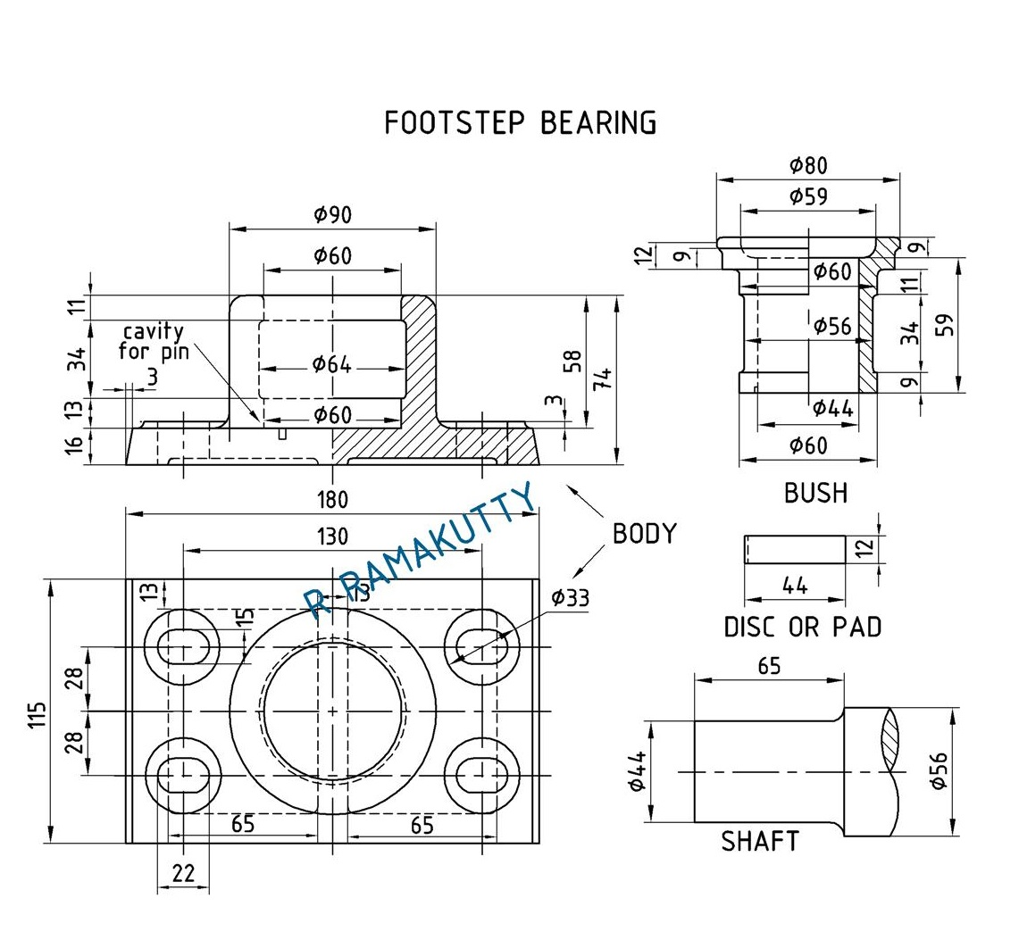 Bearing Puller Assembly Drawing : Machine drawing foot step bearing assembly