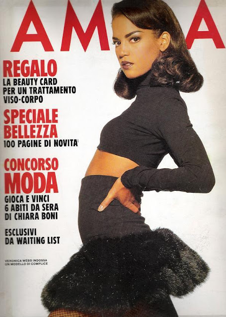 veronica webb, bla crop top, black skirt, black rara skirt, 90s supermodel famous models