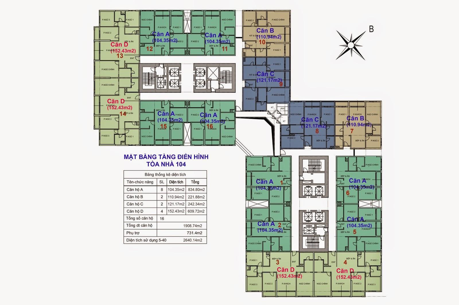 Mặt Bằng cư xá Goldmark City Tòa 104