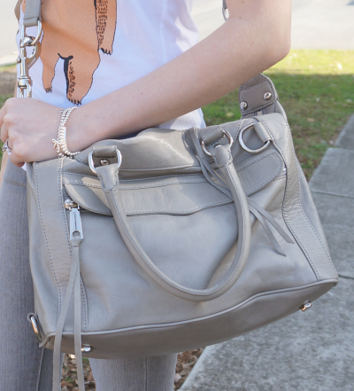 rebecca Minkoff soft grey mMAB worn cross body