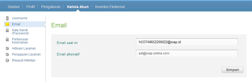 EMAIL ALTERNATIF LOGIN NUPTK ATAU PegID