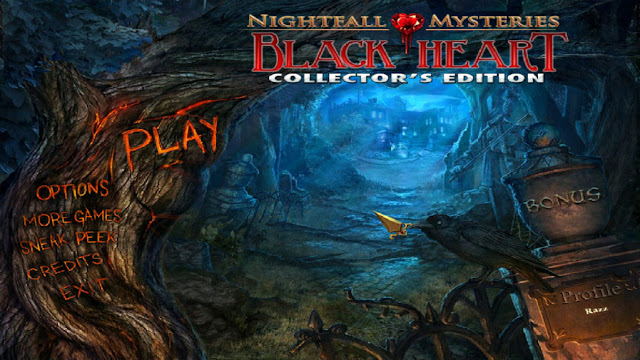 Nightfall Mysteries: Black Heart Collector's Edition Main Menu