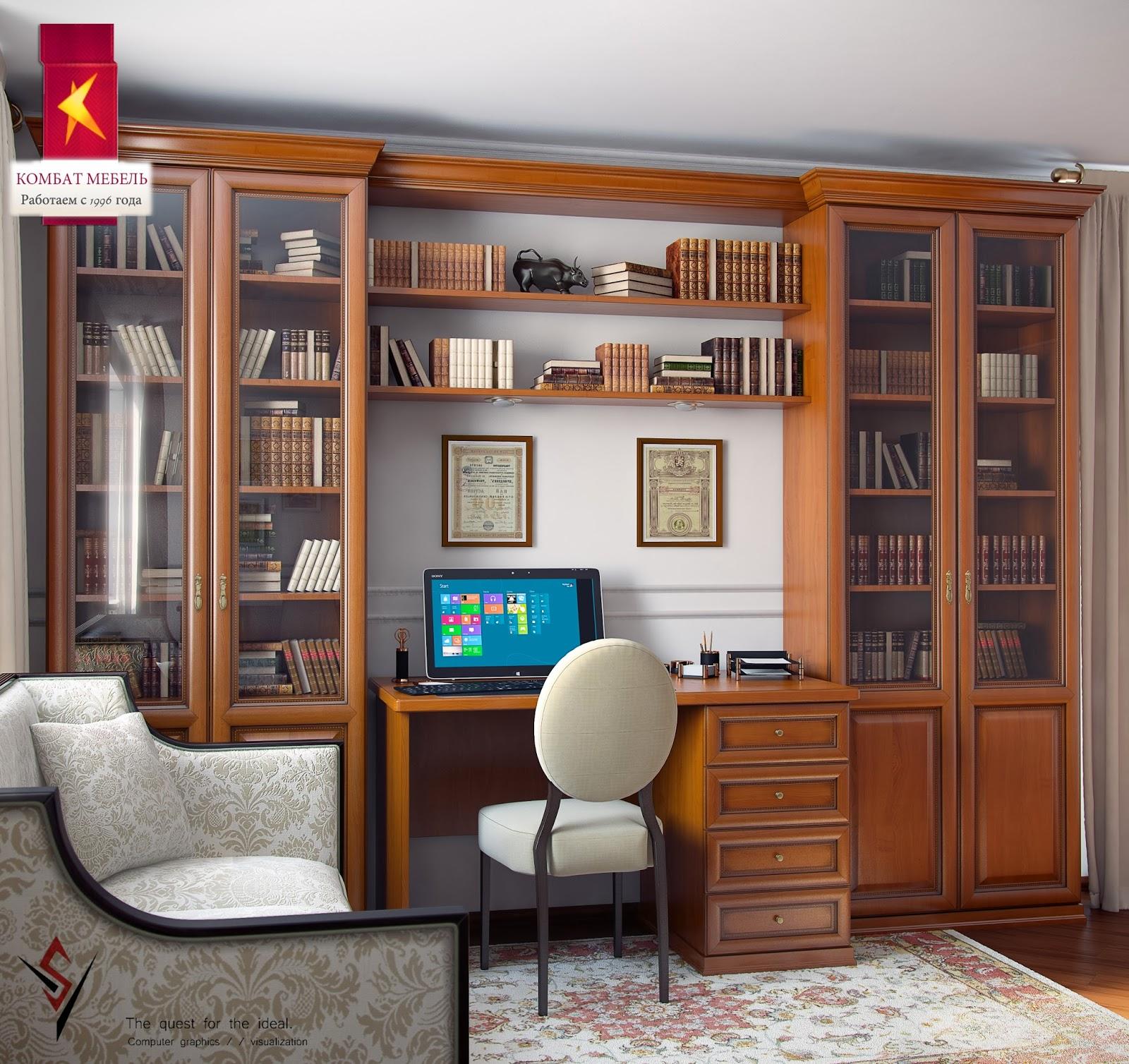 3d модели: столы - комбат \\ письменный стол с антресолью.